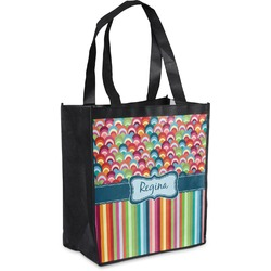 Retro Scales & Stripes Grocery Bag (Personalized)