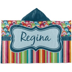 Retro Scales & Stripes Kids Hooded Towel (Personalized)