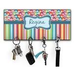 Retro Scales & Stripes Key Hanger w/ 4 Hooks w/ Name or Text