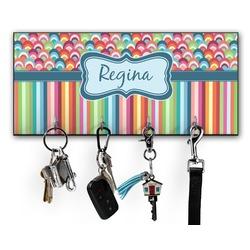 Retro Scales & Stripes Key Hanger w/ 4 Hooks (Personalized)