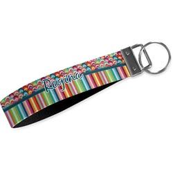 Retro Scales & Stripes Wristlet Webbing Keychain Fob (Personalized)