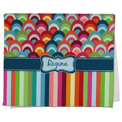 Retro Scales & Stripes Kitchen Towel - Full Print (Personalized)
