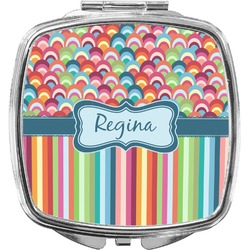 Retro Scales & Stripes Compact Makeup Mirror (Personalized)