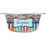 Retro Scales & Stripes Stainless Steel Dog Bowl (Personalized)