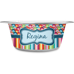 Retro Scales & Stripes Stainless Steel Pet Bowl (Personalized)