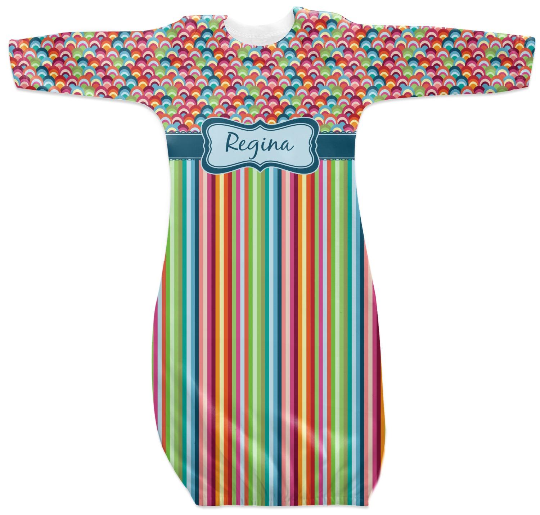Retro Scales Amp Stripes Newborn Gown Personalized