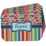 Retro Scales & Stripes Dining Table Mat - Octagon w/ Name or Text