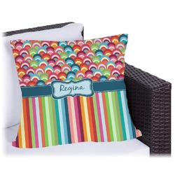 Retro Scales & Stripes Outdoor Pillow (Personalized)
