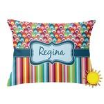 Retro Scales & Stripes Outdoor Throw Pillow (Rectangular) (Personalized)