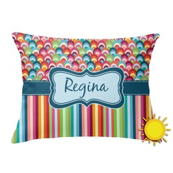 Retro Scales & Stripes Outdoor Throw Pillow (Rectangular) (Personalized)