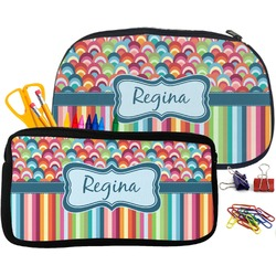 Retro Scales & Stripes Pencil / School Supplies Bag (Personalized)