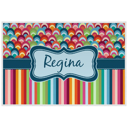 Retro Scales & Stripes Laminated Placemat w/ Name or Text