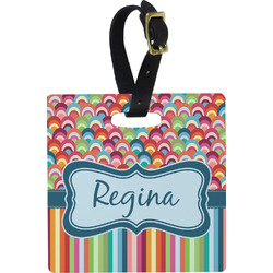 Retro Scales & Stripes Luggage Tags (Personalized)