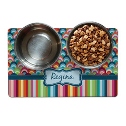 Retro Scales & Stripes Pet Bowl Mat (Personalized)