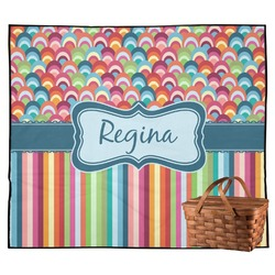Retro Scales & Stripes Outdoor Picnic Blanket (Personalized)