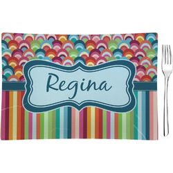 Retro Scales & Stripes Glass Rectangular Appetizer / Dessert Plate - Single or Set (Personalized)