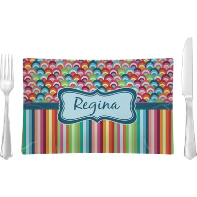 Retro Scales & Stripes Rectangular Glass Lunch / Dinner Plate - Single or Set (Personalized)