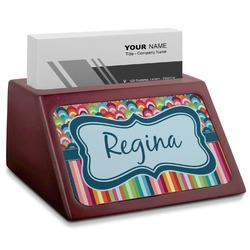 Retro Scales & Stripes Red Mahogany Business Card Holder (Personalized)