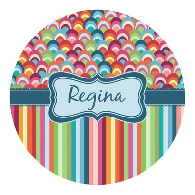 Retro Scales & Stripes Round Decal (Personalized)