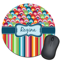 Retro Scales & Stripes Round Mouse Pad (Personalized)