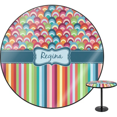 Retro Scales & Stripes Round Table (Personalized)