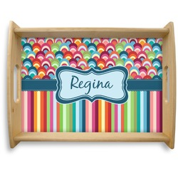 Retro Scales & Stripes Natural Wooden Tray - Large (Personalized)