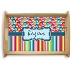 Retro Scales & Stripes Natural Wooden Tray (Personalized)