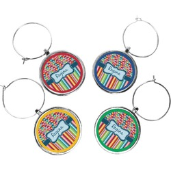 Retro Scales & Stripes Wine Charms (Set of 4) (Personalized)