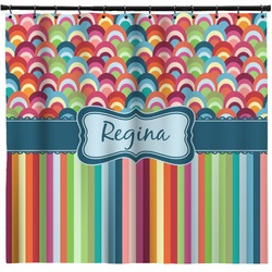 Retro Scales & Stripes Shower Curtain (Personalized)
