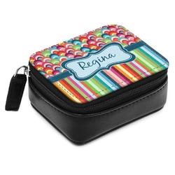 Retro Scales & Stripes Small Leatherette Travel Pill Case (Personalized)