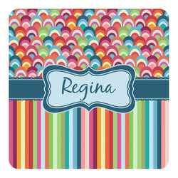Retro Scales & Stripes Square Decal - Medium (Personalized)