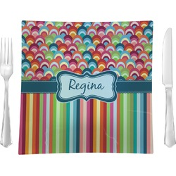 """Retro Scales & Stripes 9.5"""" Glass Square Lunch / Dinner Plate- Single or Set of 4 (Personalized)"""