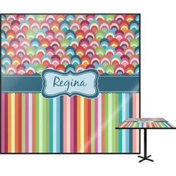 Retro Scales & Stripes Square Table Top (Personalized)