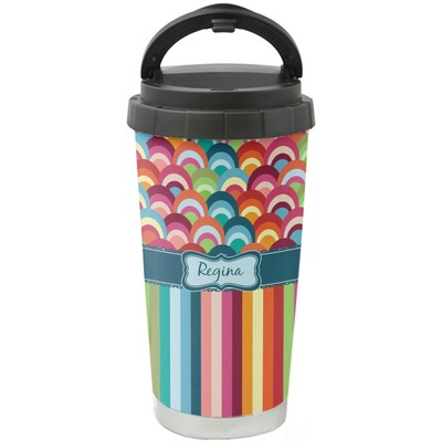 Retro Scales & Stripes Stainless Steel Coffee Tumbler (Personalized)