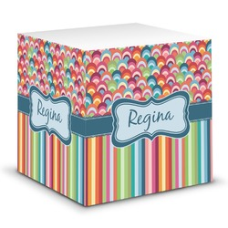 Retro Scales & Stripes Sticky Note Cube (Personalized)