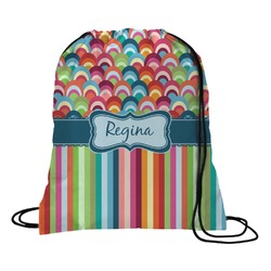 Retro Scales & Stripes Drawstring Backpack (Personalized)
