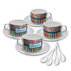 Retro Scales & Stripes Tea Cup - Set of 4 (Personalized)