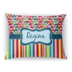 Retro Scales & Stripes Rectangular Throw Pillow Case (Personalized)