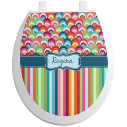 Retro Scales & Stripes Toilet Seat Decal (Personalized)