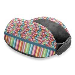 Retro Scales & Stripes Travel Neck Pillow (Personalized)