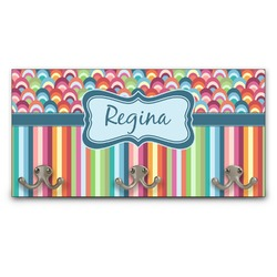 Retro Scales & Stripes Wall Mounted Coat Rack (Personalized)