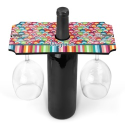 Retro Scales & Stripes Wine Bottle & Glass Holder (Personalized)