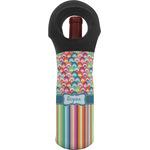 Retro Scales & Stripes Wine Tote Bag w/ Name or Text