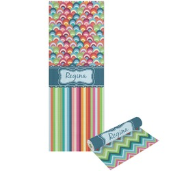 Retro Scales & Stripes Yoga Mat - Printable Front and Back (Personalized)