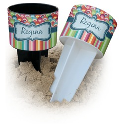 Retro Scales & Stripes Beach Spiker Drink Holder (Personalized)