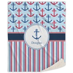 Anchors & Stripes Sherpa Throw Blanket (Personalized)