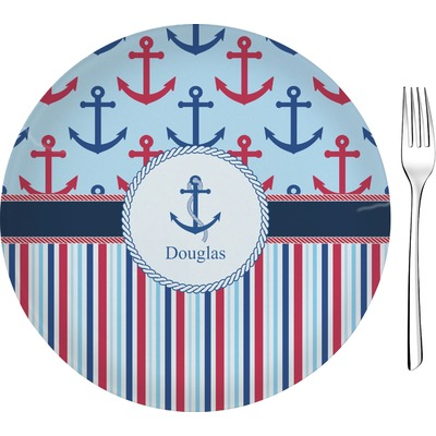 "Anchors & Stripes 8"" Glass Appetizer / Dessert Plates - Single or Set (Personalized)"