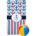 Anchors & Stripes Beach Towel (Personalized)