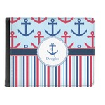 Anchors & Stripes Genuine Leather Men's Bi-fold Wallet (Personalized)
