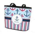 Anchors & Stripes Bucket Tote w/ Genuine Leather Trim (Personalized)